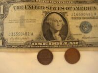 3 1 2: ONE1957 US$1 BILL BLUE SEAL & TWO OLD ONE CENT US COINS CONFIRMATION MAIL
