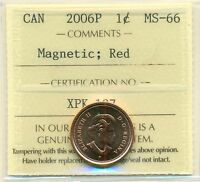 2006P CANADA SMALL CENT RED ICCS MS 66 MAGNETIC