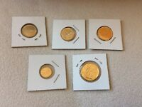 5   FIVE GOLD COINS  CURRENCY IN DISPLAY PLASTIC