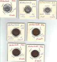 LOT OF 7 DIFFERENT 1960'S AND 1970'S NETHERLANDS 5 10 25 CENTS XF