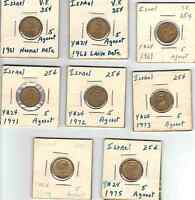 LOT OF 8 DIFF ISRAEL 5 AGOROT 1960'S AND 1970'S VF   AU  ALUMINUM BRASS CIRC