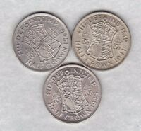 1941 1945 & 1946 GEORGE VI 50  SILVER HALF CROWNS IN LY FINE CONDITION