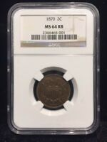 1870 2C NGC MINT STATE 64RB