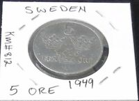 A BEAUTIFUL 1949 SWEDEN 5 ORE COIN