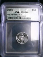 2002  P $10 PLATINUM EAGLE 1/10TH OZ ICG MS70 PERFECT COIN
