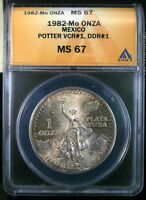 1982 MO MEXICO 1 ONZA SILVER LIBERTAD DOUBLE DIE REVERSE ANACS MS 67 DDR TONED