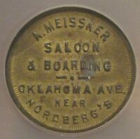A. MEISSNER SALOON TOKEN - MILWAUKEE, WISCONSIN - GF 5C DRINK/CIGAR -NCS 0030