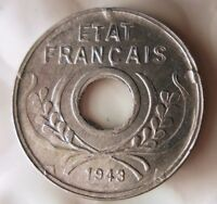 1943 FRENCH INDOCHINA 5 CENTIME   EXCELLENT WW2 VICHY COIN