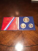 1776 1976 UNITED STATES MINT BICENTENNIAL 3 COIN SILVER PROOF SET  SILVER DOLLAR