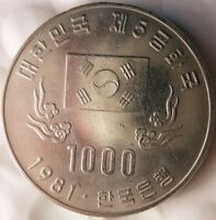 1981 SOUTH KOREA 1000 WON   UNCOMMON ONE YEAR TYPE COIN   AU