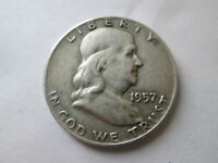 1957 D FRANKLIN HALF 90  SILVER VF CIRCULATED NOT CLEANED