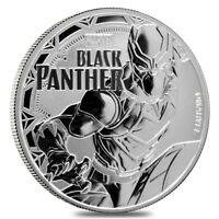 2018 1 OZ TUVALU BLACK PANTHER MARVEL SERIES SILVER COIN BU IN CAP