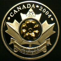 2004 CANADA 25 CENT SILVER PROOF & GOLD POPPY U.H.C.