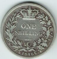 VICTORIA SILVER  .925  YOUNG HEAD ONE SHILLING 1846 F M6430