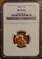 1951-D LINCOLN WHEAT CENT - GRADED BY NGC MINT STATE 66 RED-3916168-260