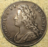 GREAT BRITAIN: 1735 GEORGE II YOUNG HEAD ROSES & PLUMES SILV