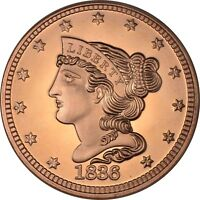 1 OZ COPPER ROUND   1836 MATRON HEAD LARGE CENT