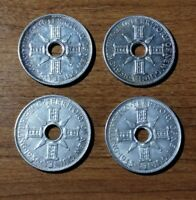 TERRITORY OF NEW GUINEA STERLING SILVER SHILLING SET 1935 1936 1938 1945