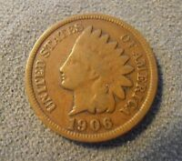 1906 INDIAN HEAD PENNY UNITED STATES US MONEY US 1 ONE CENT COIN