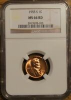 1955-S LINCOLN WHEAT CENT - GRADED MINT STATE 66 RED BY NGC 3917678-103