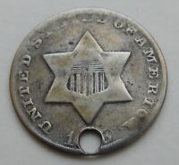 1853 3 CENT SILVER    HOLED    3C COIN