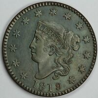 1819 1C CORONET OR MATRON HEAD LARGE CENT UNSLABBED