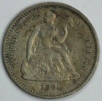 1861 H10C SEATED LIBERTY HALF DIME UNSLABBED