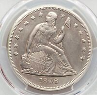 1846 PCGS AU DETAILS SEATED LIBERTY SILVER DOLLAR TYPE COIN ABOUT UNCIRCULATED