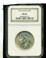 1935 BOONE COMMEMORATIVE SILVER COIN 50C NGC MINT STATE 66.. TONE