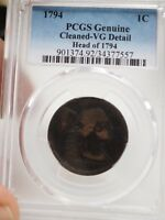 PCGS GENUINE 1794 HEAD OF 1794 LIBERTY LARGE CENT CLEANED VG DETAILS  7557