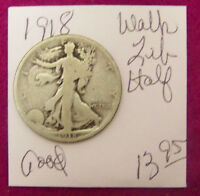1918 LIBERTY WALKING SILVER HALF DOLLAR -  GOOD