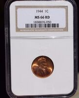 1944 1C LINCOLN WHEATBACK CARTRIGE CENT MINT STATE 66 RD CERTIFIED BRITE RED GEM