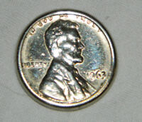1963 LINCOLN SILVER COLOR PENNY / MINT ERROR WITH DETAILS / BAND AROUND EDGE