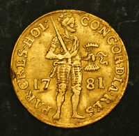 1781 NETHERLANDS HOLLAND  PROVINCE . BEAUTIFUL GOLD KNIGHT DUCAT COIN. 3.43GM