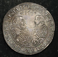1543 BRANDENBURG FRANCONIA GEORGE & ALBRECHT. EARLY DATED SILVER THALER COIN.
