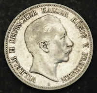 1901 GERMAN EMPIRE/PRUSSIA EMPEROR WILHELM II. LARGE SILVER 5 MARK COIN. VF