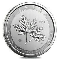 2018 10 OZ CANADIAN MAGNIFICENT SILVER MAPLE LEAF .9999 FINE $50 COIN BU  IN