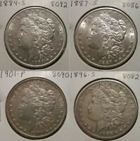 1884-S 1887-S 1901-P 1896-S LOT OF FOUR MORGAN SILVER DOLLARS BETTER DATES