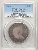 1806 PCGS GOOD DETAILS DRAPED BUST SILVER HALF DOLLAR O-117 OVERTON TYPE COIN