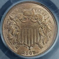 1867 2C TWO CENT PIECE PCGS MINT STATE 64 RB