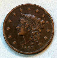 1837 LARGE CENT EXTRA FINE  SHARP  RS