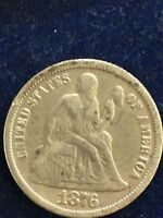 1876 UNITED STATES SEATED LIBERTY DIME