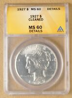 1927 P PEACE SILVER DOLLAR ANACS MINT STATE 60 DETAILS