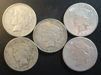 LOT OF 5 MIXED DATE AMERICAN PEACE SILVER DOLLARS $1 .900 FINE 001