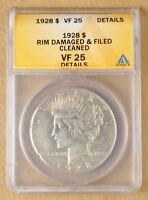 1928 P PEACE SILVER DOLLAR ANACS VF 25 DETAILS