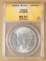 1928 P PEACE SILVER DOLLAR ANACS MINT STATE 60 DETAILS