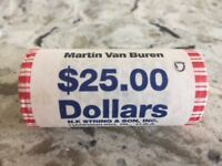 VAN BUREN PRESIDENTIAL DOLLAR ROLL, 1 $25 ROLL, UNCIRCULATED, NEVER OPENED
