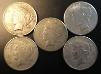 LOT OF 5 MIXED DATE AMERICAN PEACE SILVER DOLLARS $1 .900 FINE 004