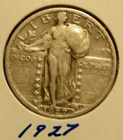 ONE EXCELLENT 1927 STANDING LIBERTY QUARTER  EXTRA FINE  90 SILVER