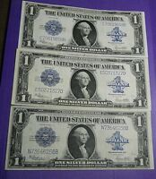 CIRCULATED 1923 SILVER CERTIFICATE- $1 LARGE SIZE NOTE  SET OF NINE ONE PRICE
